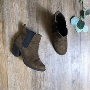 H&M Brown Suede Heeled Ankle Bootie